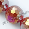 Glass Beads, Hand-cut Crystal, Milky red aurora borealis, Faceted round, 96 facets, Approx 16mm, Hole: Approx 1mm, Sold by strands