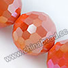 Glass Beads, Hand-cut Crystal, Milky orange aurora borealis, Faceted round, 96 facets, Approx 16mm, Hole: Approx 1mm, Sold by strands