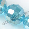 Glass Beads, Hand-cut Crystal, Aquamarine aurora borealis, Faceted round, 96 facets, Approx 16mm, Hole: Approx 1mm, Sold by strands
