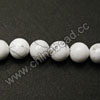 Gemstone Beads, White Howlite, Smooth round, Approx 6mm, Hole: Approx 1.5mm, 65 pcs per strand, Sold by Strands