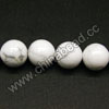 Gemstone Beads, White Howlite, Smooth round, Approx 10mm, Hole: Approx 1.5mm, 40 pcs per strand, Sold by Strands