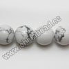 Gemstone Beads, White Howlite, Smooth round, Approx 12mm, Hole: Approx 1.5mm, 33 pcs per strand, Sold by Strands