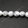 Gemstone Beads, White Howlite, Faceted round, Approx 6mm, Hole: Approx 1.5mm, 65 pcs per strand, Sold by Strands