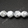 Gemstone Beads, White Howlite, Faceted round, Approx 8mm, Hole: Approx 1.5mm, 50 pcs per strand, Sold by Strands