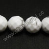 Gemstone Beads, White Howlite, Faceted round, Approx 12mm, Hole: Approx 1.5mm, 33 pcs per strand, Sold by Strands
