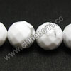 Gemstone Beads, White Howlite, Faceted round, Approx 14mm, Hole: Approx 1.5mm, 28 pcs per strand, Sold by Strands