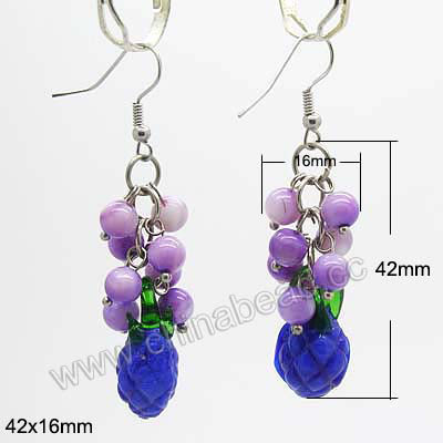 Er lg0006 fashion earrings handmade lampworked glass beaded fashion earrings handmade lampworked glass beaded dangle chandelier earrings purple round beads and mozeypictures Choice Image