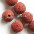 Gemstone Beads, Lava Rock, Bright red, Round, Approx 14mm, Hole: Approx 1mm, 28pcs per strand, Sold by strands