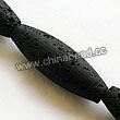 Gemstone Beads, Lava Rock, Black, Long oval, Approx 30x10mm, Hole: Approx 1mm, 13pcs per strand, Sold by strands