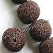 Gemstone Beads, Lava Rock, Brown, Round, Approx 16mm, Hole: Approx 1mm, 25pcs per strand, Sold by strands