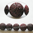 Gemstone Beads, Lava Rock, Dark red, Round, Approx 6mm, Hole: Approx 1mm, 63pcs per strand, Sold by strands