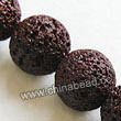 Gemstone Beads, Lava Rock, Dark red, Round, Approx 18mm, Hole: Approx 1mm, 22pcs per strand, Sold by strands