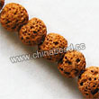 Gemstone Beads, Lava Rock, Dark yellow, Round, Approx 8mm, Hole: Approx 1mm, 50pcs per strand, Sold by strands