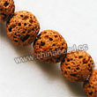 Gemstone Beads, Lava Rock, Dark yellow, Round, Approx 12mm, Hole: Approx 1mm, 33pcs per strand, Sold by strands