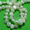 Pearl Beads, Cultured Freshwater Pearl, White, Flat sided potato, Approx 6-7mm, Hole: Approx 0.8mm, 57 pcs per strand, Sold by strands