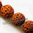 Gemstone Beads, Lava Rock, Orange, Round, Approx 16mm, Hole: Approx 1mm, 25pcs per strand, Sold by strands