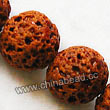 Gemstone Beads, Lava Rock, Orange, Round, Approx 20mm, Hole: Approx 1mm, 20pcs per strand, Sold by strands
