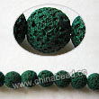 Gemstone Beads, Lava Rock, Dark green, Round, Approx 6mm, Hole: Approx 1mm, 63pcs per strand, Sold by strands