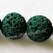 Gemstone Beads, Lava Rock, Dark green, Round, Approx 18mm, Hole: Approx 1mm, 22pcs per strand, Sold by strands