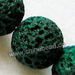 Gemstone Beads, Lava Rock, Dark green, Round, Approx 20mm, Hole: Approx 1mm, 20pcs per strand, Sold by strands