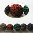 Gemstone Beads, Lava Rock, Mixed colors, Round, Approx 6mm, Hole: Approx 1mm, 63pcs per strand, Sold by strands