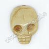 Carved Bone Beads, Ivory, double-faced Middle skull head, Skull, Approx 22x17x7mm, Hole: Approx 2mm, Sold by PCS