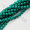 Gemstone beads, Dyed blue-green turquoise, Smooth round, Approx 16mm, Hole: Approx 1mm, Approx 25 pieces per strand, Sold by strands