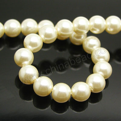 Pearl Beads, Glass Pearl, Color #02, Smooth round, Approx 12mm, Hole: Approx 1mm, Sold by strands