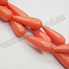 Gemstone Beads, Imit. Coral, Smooth rounded teardrop, Approx 14x40mm, Hole: Approx 1.2mm, Sold by strands