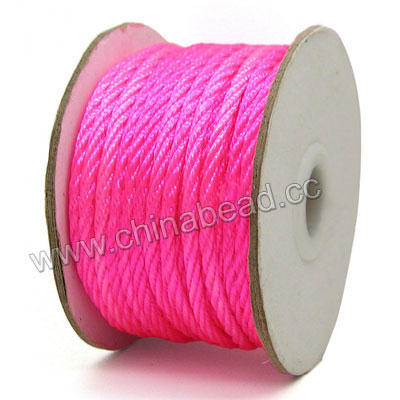 Cord Thread & Wire, Woven Cord, Magenta rose, Approx 3mm, 25 yards per spool, Sold by spools