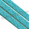 Cord Thread & Wire, Glittery faux suede lace, Color #07 medium turquoise, Approx 3x1.5mm, 100 yards per spool, Sold by spools