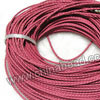 Cord Thread & Wire, Round woven leather cord, Color #18 light rose red, Same colored edge, Approx 3mm, 100 yards per bundle, Sold by bundles
