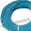 Cord Thread & Wire, Round woven leather cord, Color #20 turquoise, Same colored edge, Approx 3mm, 100 yards per bundle, Sold by bundles