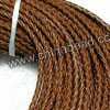 Cord Thread & Wire, Round woven leather cord, Color #1 light brown, Original colored edge, Approx 4mm, 100 yards per bundle, Sold by bundles