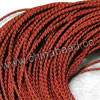 Cord Thread & Wire, Round woven leather cord, Color #4 red, Original colored edge, Approx 4mm, 100 yards per bundle, Sold by bundles