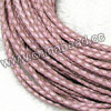 Cord Thread & Wire, Round woven leather cord, Color #6 light pink, Original colored edge, Approx 4mm, 100 yards per bundle, Sold by bundles
