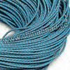 Cord Thread & Wire, Round woven leather cord, Color #9 deep skyblue, Original colored edge, Approx 4mm, 100 yards per bundle, Sold by bundles