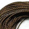 Cord Thread & Wire, Round woven leather cord, Color #11 dark brown, Original colored edge, Approx 4mm, 100 yards per bundle, Sold by bundles