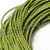 Cord Thread & Wire, Round woven leather cord, Color #16 chartreuse, Original colored edge, Approx 4mm, 100 yards per bundle, Sold by bundles