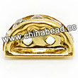 Rhinestone beads with crystal stones, Brass in gold plating, Half Round, Flat,Approx 12x7x3mm, Hole: Approx 1mm, Sold by Bags