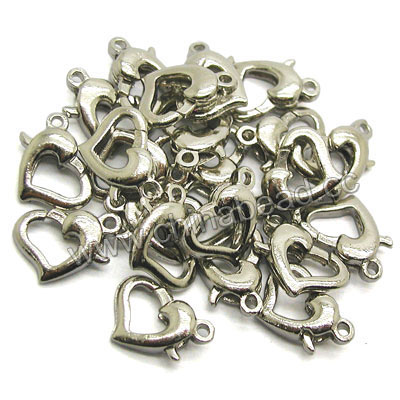 Jewelry Findings, Brass lobster claw clasp in platinum plating, Heart, Approx 9x10mm, Hole: Approx 1.5mm, Lead & cadmium free, 200pcs per bag, Sold by bags