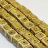 Natural look ceramic beads, Yellow, Cube, Approx 10x10mm, Hole: Approx 2mm, Sold by PCS