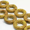 Natural look ceramic beads, Yellow, Ring/circle, Donut, Approx 27x8mm, Hole: Approx 2mm, Sold by PCS