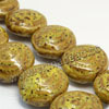 Natural look ceramic beads, Yellow, Puffy disc, Flat round, Approx 25x12mm, Hole: Approx 2mm, Sold by PCS