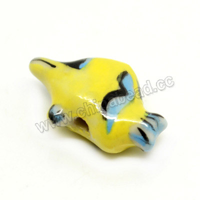 Porcelain animal beads, Yellow, Tropical fish, Animal, Approx 19x12x7mm, Hole: Approx 2mm, Sold by PCS