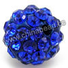 Rhinestone clay pave beads with color #7 sapphire stones, Round, Approx 14mm, Hole: Approx 1.2mm, 100pcs per bag, Sold by bags.