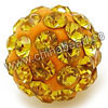 Rhinestone clay pave beads with color #13 golden stones, Round, Approx 14mm, Hole: Approx 1.2mm, 100pcs per bag, Sold by bags.