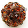 Rhinestone clay pave beads with color #26 dark topaz stones, Round, Approx 14mm, Hole: Approx 1.2mm, 100pcs per bag, Sold by bags.