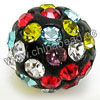 Rhinestone clay pave beads with color #17 mixed color stones, Round, Approx 14mm, Hole: Approx 1.2mm, 100pcs per bag, Sold by bags.