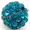 Rhinestone clay pave beads with color #21 blue zircon stones, Round, Approx 14mm, Hole: Approx 1.2mm, 100pcs per bag, Sold by bags.